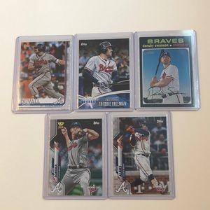Lot of 5 Atlanta Braves Topps MLB Baseball Cards